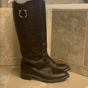 Salvatore Ferragamo dark brown leather boots